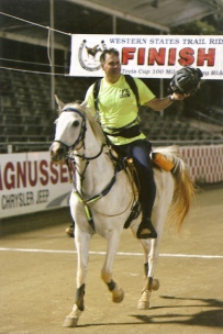 Greg Kimler finishing the Tevis Cup on Echo Valley Hawk